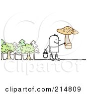 Royalty Free RF Clipart Illustration Of A Stick Man Picking Wild Mushrooms