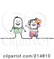 Royalty Free RF Clipart Illustration Of A Stick Couple Wearing Hibiscus Clothes In Hawaii