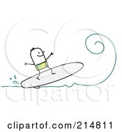 Royalty Free RF Clipart Illustration Of A Stick Man Surfing A Wave