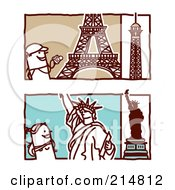 Royalty Free RF Clipart Illustration Of A Digital Collage Of Stick Tourists Viewing The Eiffel Tower And Statue Of Liberty