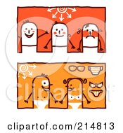 Royalty Free RF Clipart Illustration Of A Digital Collage Of Stick People With Tan Lines And Sun Burns by NL shop