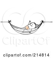 Royalty Free RF Clipart Illustration Of A Stick Man Relaxing In A Hammock