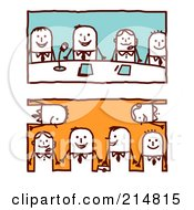Royalty Free RF Clipart Illustration Of A Digital Collage Of Stick Business Men In Meetings
