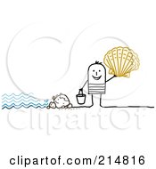 Royalty Free RF Clipart Illustration Of A Stick Man Shell Collecting On A Beach