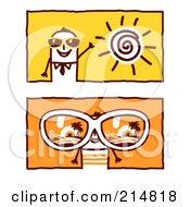 Royalty Free RF Clipart Illustration Of A Digital Collage Of Stick Business Men Wearing Summer Shades by NL shop