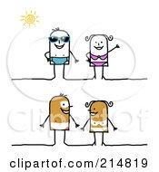 Royalty Free RF Clipart Illustration Of A Digital Collage Of A Stick Couple In Swimwear And Nude With Tan Lines