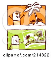 Royalty Free RF Clipart Illustration Of A Digital Collage Of Stick Men By A Palm Tree And Post Card