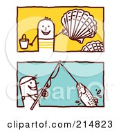 Royalty Free RF Clipart Illustration Of A Digital Collage Of Stick Men Collecting Shells And Fishing