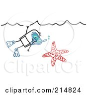 Royalty Free RF Clipart Illustration Of A Stick Man Snorkeling By A Starfish