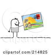 Royalty Free RF Clipart Illustration Of A Stick Man Holding A Tropical Post Card