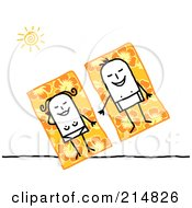 Royalty Free RF Clipart Illustration Of A Stick Couple Sun Bathing On Hibiscus Beach Towels by NL shop