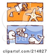 Royalty Free RF Clipart Illustration Of A Digital Collage Of Stick Men Whale Watching And Snorkeling
