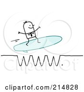 Royalty Free RF Clipart Illustration Of A Stick Business Man Surfing A WWW Wave by NL shop
