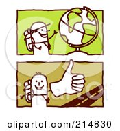 Royalty Free RF Clipart Illustration Of A Digital Collage Of Stick Men Trekking The Globe by NL shop