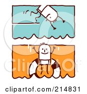 Royalty Free RF Clipart Illustration Of A Digital Collage Of Stick Men Swimming