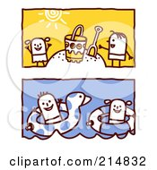 Royalty Free RF Clipart Illustration Of A Digital Collage Of Stick Children Playing In The Sand And Swimming