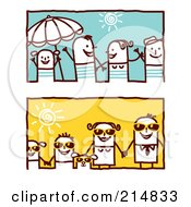 Royalty Free RF Clipart Illustration Of A Digital Collage Of Summer Stick Families Holding Hands by NL shop
