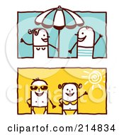 Royalty Free RF Clipart Illustration Of A Digital Collage Of Summer Stick Couples By An Umbrella And Wearing Swimsuits by NL shop