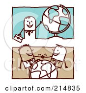 Royalty Free RF Clipart Illustration Of A Digital Collage Of Stick Business Men With Globes by NL shop