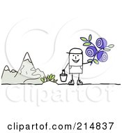 Royalty Free RF Clipart Illustration Of A Stick Man Picking Wild Flowers