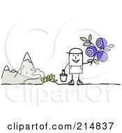 Stick Man Picking Wild Flowers