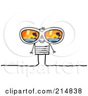 Royalty Free RF Clipart Illustration Of A Stick Man Wearing Shades Reflecting A Tropical Island