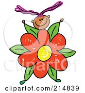 Royalty Free RF Clipart Illustration Of A Childs Sketch Of A Girl With A Flower Body