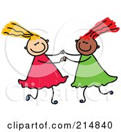 Royalty Free RF Clipart Illustration Of A Childs Sketch Of Two Girls Playing Together