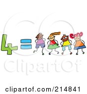 Royalty Free RF Clipart Illustration Of A Childs Sketch Of Four Equals 4 Children
