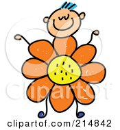 Royalty Free RF Clipart Illustration Of A Childs Sketch Of A Boy With A Flower Body