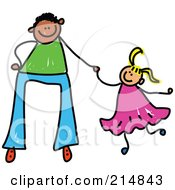Royalty Free RF Clipart Illustration Of A Childs Sketch Of A Father Holding Hands With His Daughter 3