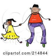 Royalty Free RF Clipart Illustration Of A Childs Sketch Of A Father Holding Hands With His Daughter 2