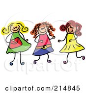 Royalty Free RF Clipart Illustration Of A Childs Sketch Of Three Girls Playing Together 1