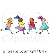 Royalty Free RF Clipart Illustration Of A Childs Sketch Of A Row Of Four Running Kids
