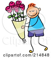Royalty Free RF Clipart Illustration Of A Childs Sketch Of A Boy Carrying Roses by Prawny