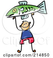 Royalty Free RF Clipart Illustration Of A Childs Sketch Of A Boy Holding Up A Fish by Prawny