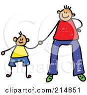 Royalty Free RF Clipart Illustration Of A Childs Sketch Of A Father Holding Hands With His Son 1