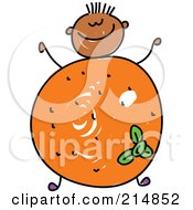 Royalty Free RF Clipart Illustration Of A Childs Sketch Of A Boy With An Orange Body