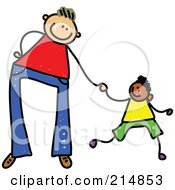 Royalty Free RF Clipart Illustration Of A Childs Sketch Of A Father Holding Hands With His Son 3