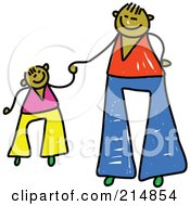 Royalty Free RF Clipart Illustration Of A Childs Sketch Of A Father Holding Hands With His Son 2