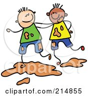Royalty Free RF Clipart Illustration Of A Childs Sketch Of Two Boys Playing In Mud