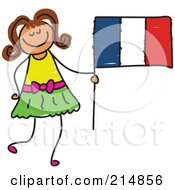 Royalty Free RF Clipart Illustration Of A Childs Sketch Of A Little Girl Holding A French Flag