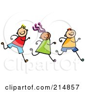 Royalty Free RF Clipart Illustration Of A Childs Sketch Of A Row Of Three Running Kids