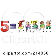 Royalty Free RF Clipart Illustration Of A Childs Sketch Of Five Equals 5 Children