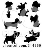 Royalty Free RF Clipart Illustration Of A Digital Collage Of Cartoon Dog Silhouettes