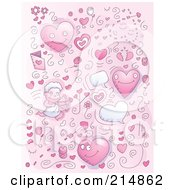 Royalty Free RF Clipart Illustration Of A Background Of Pink Valentine Doodles With Hearts And Cupid by Cory Thoman
