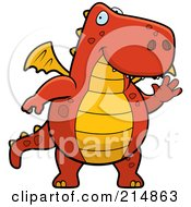 Royalty Free RF Clipart Illustration Of A Big Red And Orange Dragon Waving by Cory Thoman