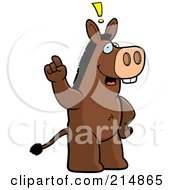 Royalty Free RF Clipart Illustration Of A Big Donkey Standing On His Hind Legs Holding His Finger Up With An Idea by Cory Thoman