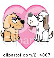 Royalty Free RF Clipart Illustration Of A Pair Of Dogs In Love Over A Pink Heart