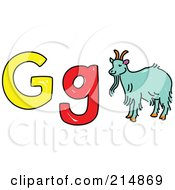 Royalty Free RF Clipart Illustration Of A Childs Sketch Of G Is For Goat